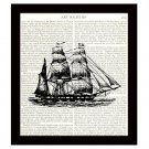 Nautical 8 x 10 Dictionary Art Print Vintage Barque Sailing Ship Home Decor
