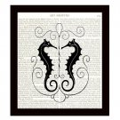 Seahorses Dictionary Art Print 8 x 10 Bridal Wedding First Anniversary Gift