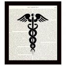 Caduceus 8x10 Dictionary Art Print Medical Science Doctors Office Decor Unframed