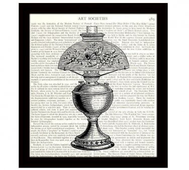 Dictionary Art Print 8 x 10 Vintage Victorian Lamp Home Decor 19th Century