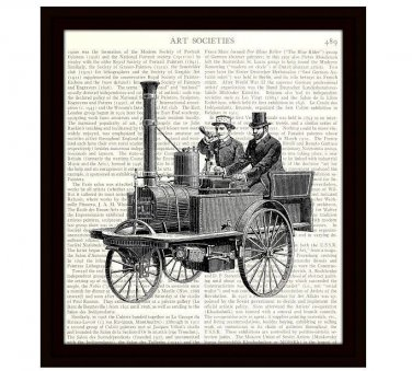 Dictionary Art Print 8 x 10 Steam Powered Horseless Carriage Early Automobile