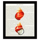 Dictionary Art Print 8 x 10 Seashell Collage Nautical Beach Home Decor Vintage
