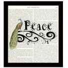 Dictionary Art Print 8 x 10 Peace Inspirational Peacock Collage Home Decor