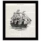 Nautical 8 x 10 Dictionary Art Print British Sailing Ship Vintage Home Decor