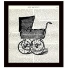 Dictionary Art Print Victorian Baby Carriage Pram 8 x 10 Nursery Decor Gift