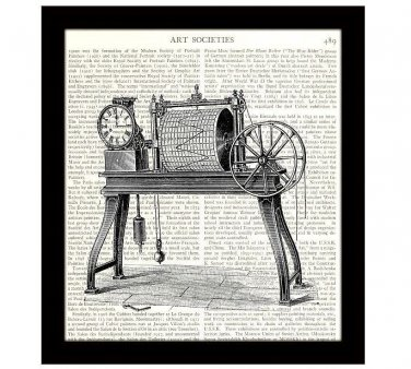 Dictionary Art Print 8x10 Steampunk Machine 19th Century Victorian Seismograph