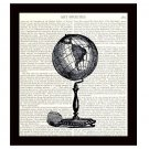 Dictionary Art Print 8 x 10 Old Fashioned Globe Travel Decor Vintage Illustration