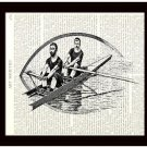 Nautical Dictionary Art Print 8 x 10 Victorian Men Rowing Boat Vintage Book Page