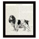Spaniel Dictionary Art Print 8 x 10 Black and White Dog Illustration Home Decor