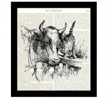 Cat Dictionary Art Print 8 x 10 Cow and Kitten Ranch Farm Vintage Cottage Chic