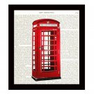 Dictionary Art Print 8 x 10 Red British Telephone Booth UK Vintage Unframed