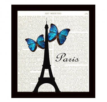 Paris Eiffel Tower 8x10 Dictionary Art Print Blue Butterfly Wall Art Home Decor