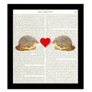 Dictionary Art Print 8 x 10 Hedgehogs in Love Collage First Anniversary Bridal
