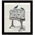Dictionary Art Print 8 x 10 Birdcage With Colorful Birds Collage Illustration