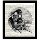 Train Dictionary Art Print 8 x 10 Vintage Locomotive Horses Retro Home Decor