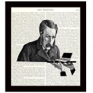 Dictionary Art Print 8 x 10 Steampunk Victorian Scientist Baffled by Computer