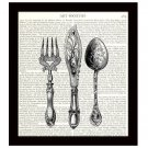 Dictionary Art Print Victorian Knife Fork Spoon 8 x 10 Kitchen Art Home Decor