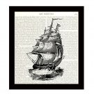 Nautical 8 x 10 Dictionary Art Print Tall Ship Vintage Illustration Home Decor