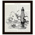 Lighthouse 8 x 10 Dictionary Art Print Book Page Nautical Retro Home Decor