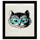 Alice in Wonderland Cheshire Cat Wearing Blue Glasses 8 x 10 Dictionary Art Print