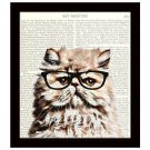 Dictionary Art Print 8 x 10 Cat with Eyeglasses Illustration Back to School