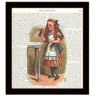 Alice in Wonderland Dictionary Art Print 8 x 10 Drink Me Fairy Tale Unframed