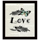 Dictionary Art Print 8 x 10 Love Inspirational Butterfly Collage Wedding Bridal
