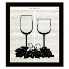 Dictionary Art Print Wine Glasses 8 x 10 Kitchen Art Home Decor Housewarming
