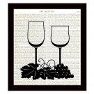 Dictionary Art Print Wine Glasses 8 x 10 Kitchen Art Home Decor Housewarming