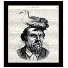 Dictionary Art Print 8 x 10 Grumpy Man With Bird on Head Funny Birthday Gift