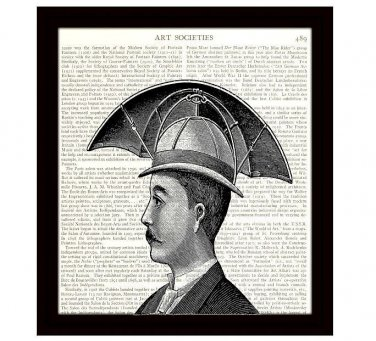 Dictionary Art Print 8 x 10 Steampunk Invention Victorian Man With Umbrella Hat