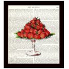 Strawberries Dictionary Art Print 8 x 10 Botanical Kitchen Home Decor Fruit