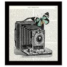 Dictionary Art Print 8 x 10 Retro Camera with Butterfly Collage Illustration