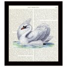 Swan Dictionary Art Print 8 x 10 Victorian Wedding Home Decor Bridal Shower Gift