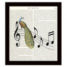 Music Dictionary Art Print Book Page 8 x 10 Peacock Collage Modern Home Decor