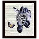 Zebra Dictionary Art Print 8x10 Butterfly Collage Illustration Home Decor
