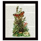 Dictionary Art Print 8 x 10 Butterfly Magnolia Flowers Colorful Botanical Decor