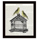 Dictionary Art Print Book Page 8 x 10 Songbirds Finches on a Birdcage Home Decor