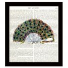 Dictionary Art Print 8 x 10 Colorful Peacock Feathers Fan Victorian Fashion