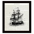 Pirate Ship 8 x 10 Dictionary Art Print Book Page Retro Nautical Home Decor