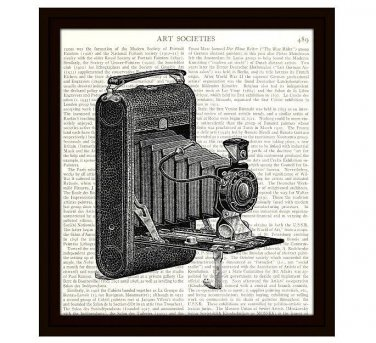 Dictionary Art Print 8 x 10 Old Fashioned Camera Photography Book Page Decor