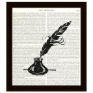 Dictionary Art Print 8 x 10 Quill Feather Inkwell Pen and Ink Writer Home Decor