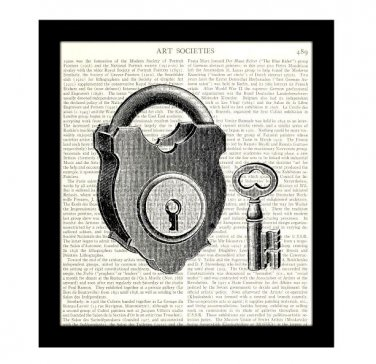 Dictionary Art Print 8 x 10 Lock and Key Victorian Illustration Black and White