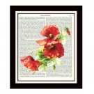 Red Flowers Dictionary Art Print 8 x 10 Botanical Illustration Garden Decor
