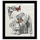 Alice in Wonderland Dictionary Art Print 8 x 10 Alice and Butterflies