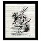 Dictionary Art Print 8 x 10, Alice in Wonderland, White Rabbit With Trumpet