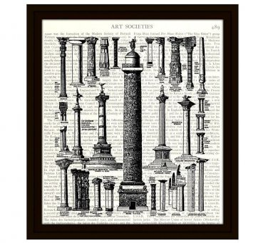 History Dictionary Art Print 8 x 10 Ancient Architecture Collage of Columns Archaeology
