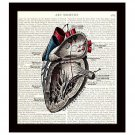 Heart Diagram 8 x 10 Dictionary Art Print Victorian Medical Anatomy Science Decor