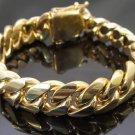 14k Gold Mens Cuban Link Bracelet High Quality Stainless Steel