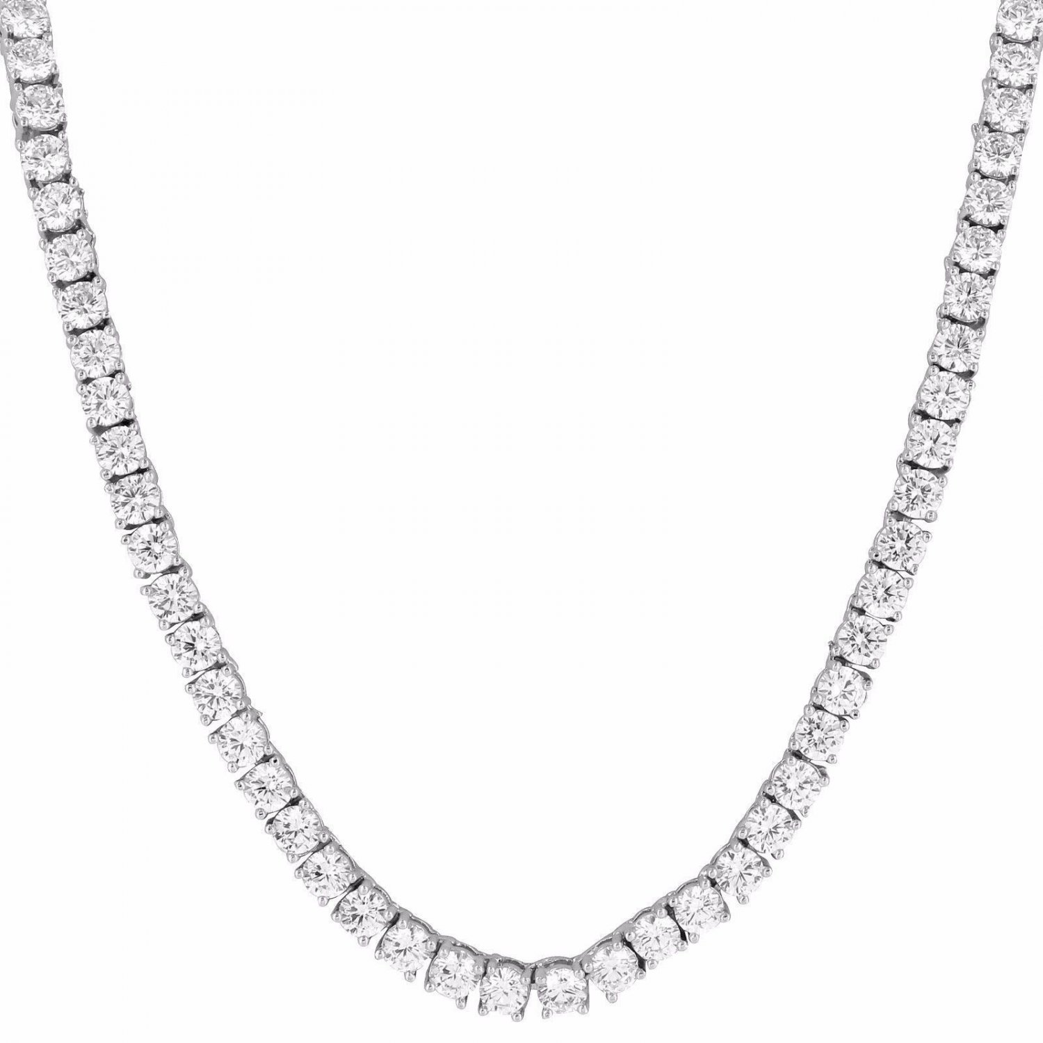 Mens Tennis Necklace 18,20,22,24,26,28 Inch 3mm Chain 1 Row Solitaire Diamonds